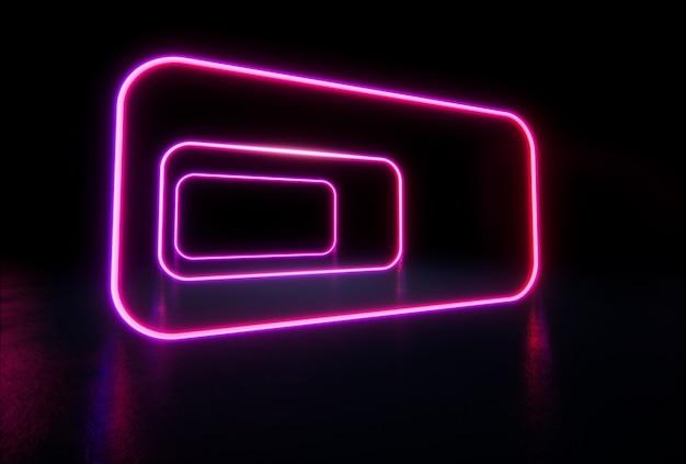 Świecące linie, tunel, neony. futurystyczne linie oświetlenia sci fi. renderowanie 3d.
