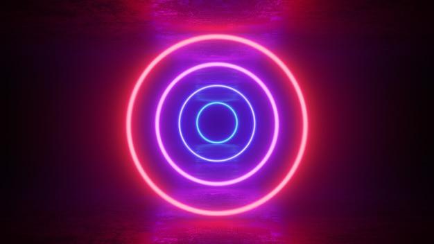 Świecące neonowe, czerwone, fioletowe kółka, pierścienie z odbiciami na ziemi