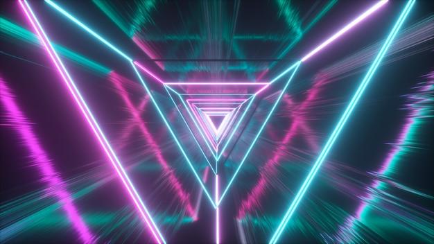 Świecące neonowe trójkąty tworzą tunel z odbiciem grunge
