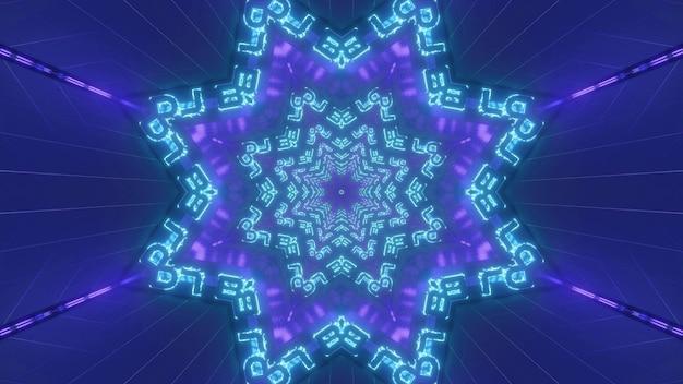 Świecące niebieskie i fioletowe tło ilustracji 3d z geometrycznymi kalejdoskopowymi gwiazdami i neonowymi liniami tworzącymi abstrakcyjny projekt tunelu