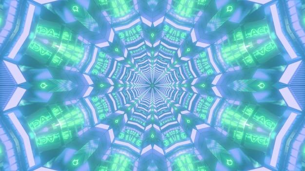 Świecące niebieskie i zielone kolorowe tło wizualne 3d ze świecącym neonowym symetrycznym kalejdoskopowym wzorem w kształcie kwiatu tworzącym niekończący się projekt tunelu