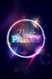 Świecące nocne przyjęcie na kolorowe