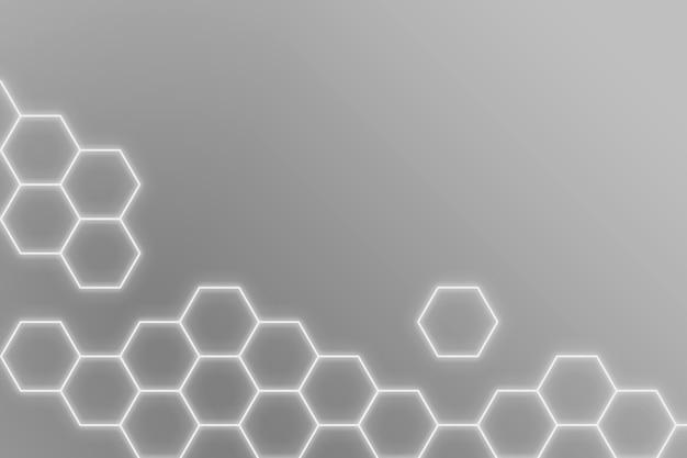 Świecące szare neonowe sześciokątne wzorzyste tło