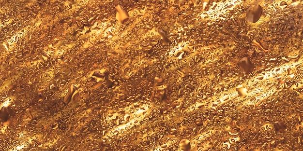 Świecące złote tło, złota błyszcząca tekstura, krople wody na szkle