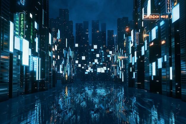 Świecące znaki reklamowe i billboardy na budynkach w mieście w nocy