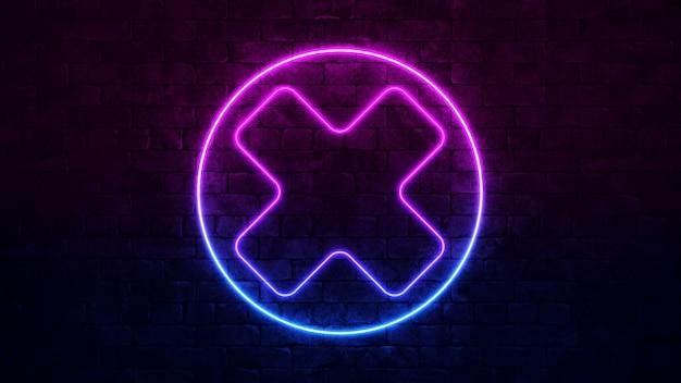 Świecący krzyż neonowy znak. fioletowa i niebieska ramka neon. ciemny mur z cegły.