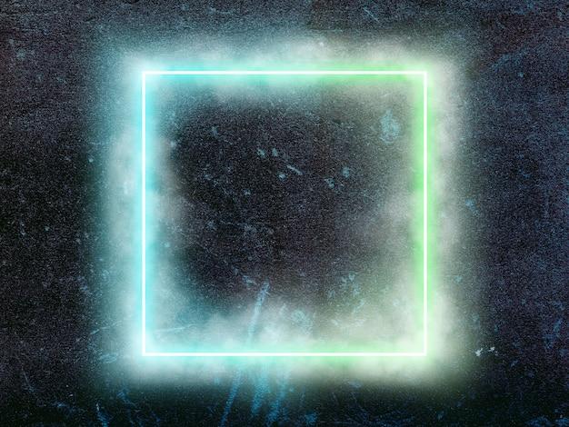 Świecący kwadrat. synth wave i retro wave, futurystyczna estetyka vaporwave. świecący neonowy styl. tapeta pozioma, ściana