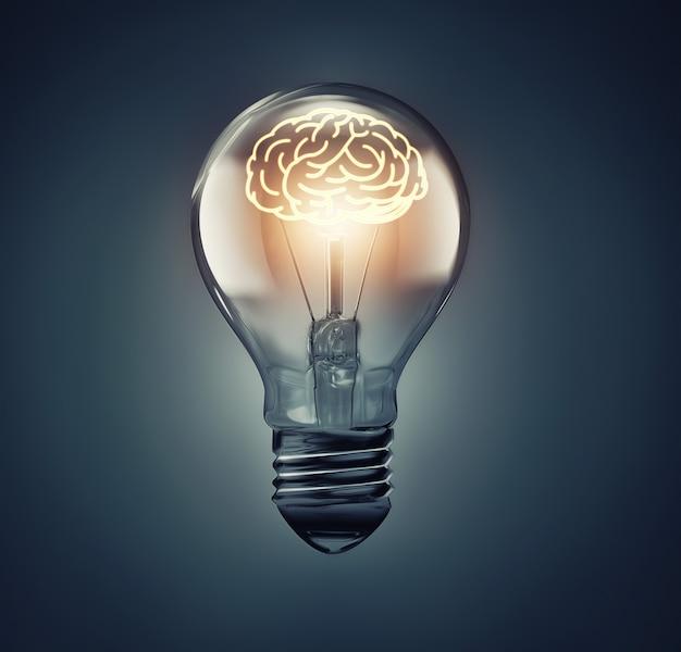 Świecący mózg wewnątrz obrazu koncepcji pomysłu żarówki