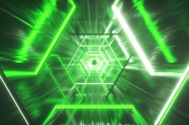 Świecący neonowy sześciokąt tworzący tunel