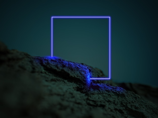 Świecący niebieski kwadrat. synth wave, retro wave, futurystyczna estetyka vaporwave. świecący neonowy styl. tapeta pozioma, ściana