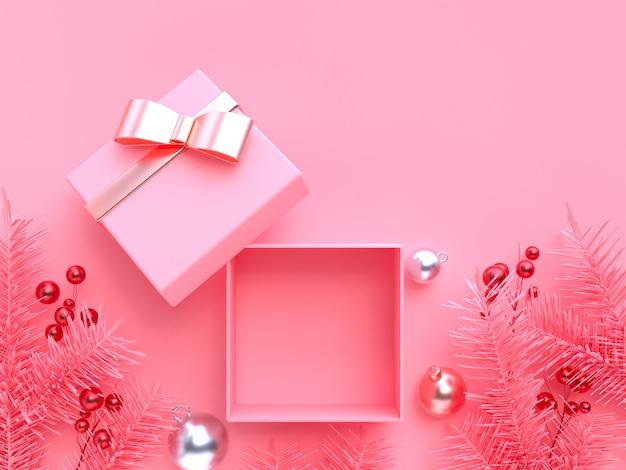 Święta bożego narodzenia dekoracja element 3d renderingu różowy tło