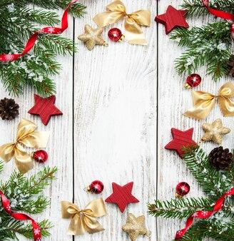 Święta bożego narodzenia rama tło z dekoracją