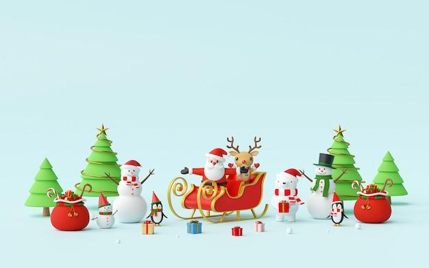 Święta bożego narodzenia z santa claus i przyjaciółmi renderowania 3d