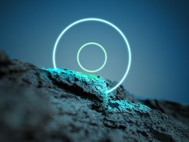 Świetliste kręgi. synth wave, retro wave, futurystyczna estetyka vaporwave. świecący neonowy styl. tapeta pozioma, ściana