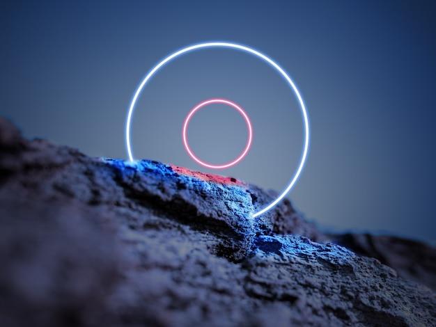 Świetlisty okrąg. synth wave, retro wave, futurystyczna estetyka vaporwave. świecący neonowy styl. tapeta pozioma, ściana