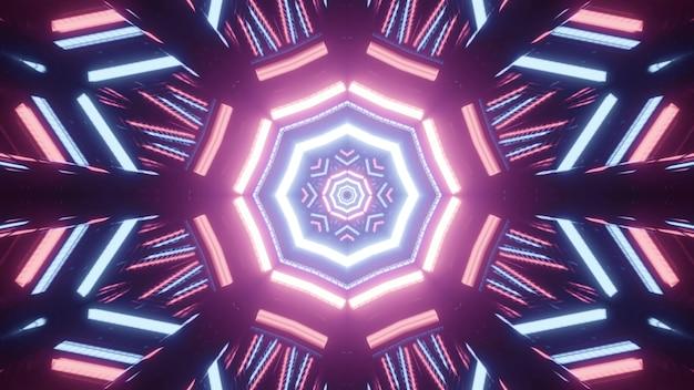 Świetlna trójwymiarowa ilustracja abstrakcyjnego kulistego tunelu utworzonego przez zakrzywione jasne różowe i niebieskie linie na czarnym tle