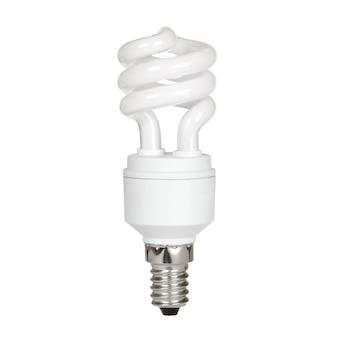 Świetlówka kompaktowa na białym tle