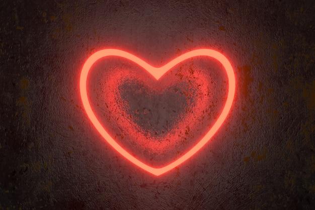 Świetlówka w kształcie serca. renderowanie 3d.