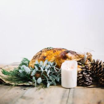 Święto dziękczynienia indyka i świeca
