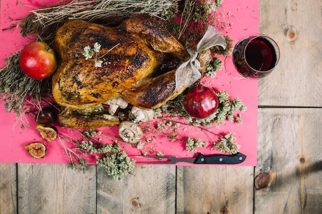 Święto dziękczynienia indyka i wino