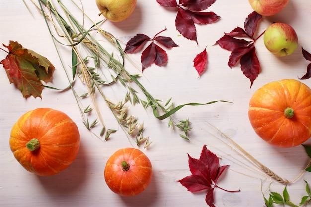 Święto dziękczynienia z dyniami, jabłkami, pszenicą, owsem i jesiennymi liśćmi