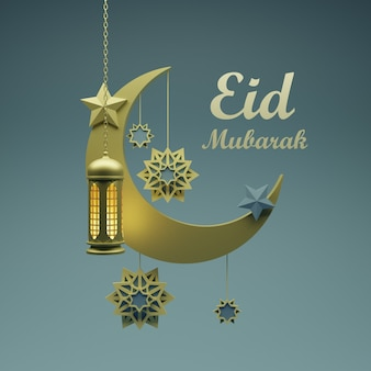Święto eid mubarak z wiszącą latarnią, gwiazdą na księżycu na pięknym tle. zdjęcie premium