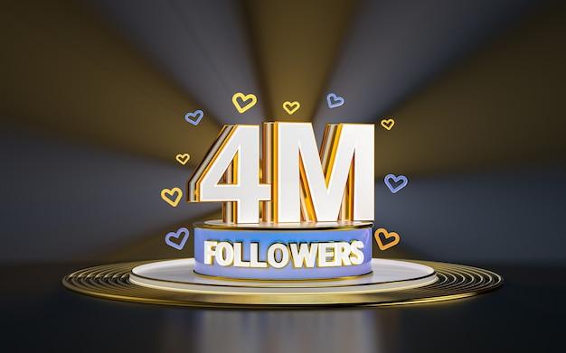 Świętowanie 4 milionów obserwujących dziękuję banerowi w mediach społecznościowych ze złotym tłem w centrum uwagi 3d