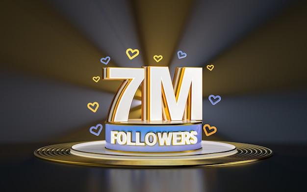 Świętowanie 7 milionów obserwujących dziękuję banerowi w mediach społecznościowych ze złotym tłem w centrum uwagi 3d