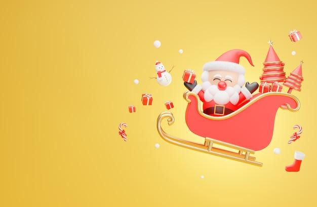 Święty mikołaj latający w saniach na boże narodzenie w renderowaniu 3d