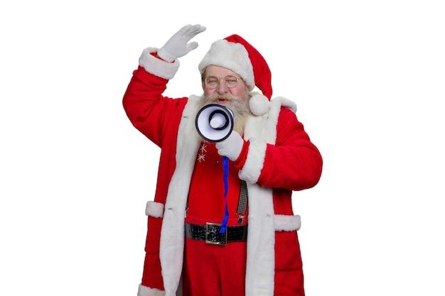 Święty mikołaj mówi za pomocą megafonu.
