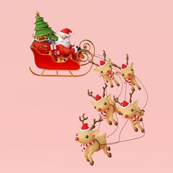 Święty mikołaj na saniach pełnych świątecznych prezentów renderowania 3d