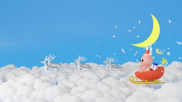 Święty mikołaj na saniach podczas bożego narodzenia renderowania 3d