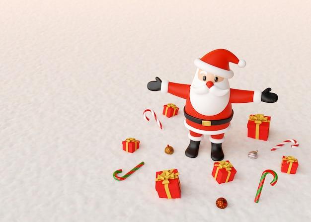 Święty mikołaj pozycja z prezentami i boże narodzenie ornamentami na śniegu gruntuje, 3d rendering
