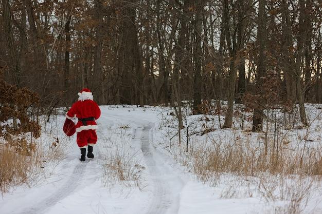Święty mikołaj spaceruje po zimowym lesie z prezentami świątecznymi w czerwonej wielkiej torbie