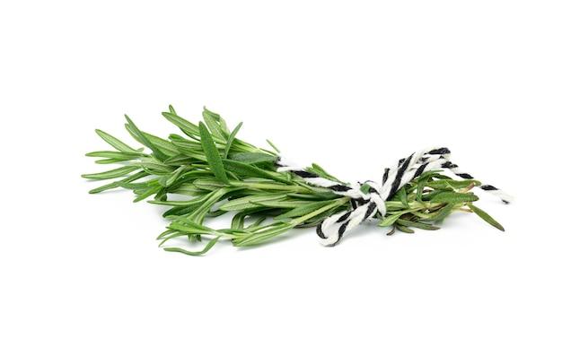Świeża gałązka rozmarynu z zielonymi liśćmi na białej powierzchni, aromatyczna przyprawa