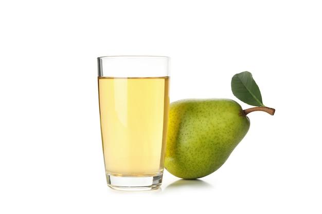 Świeża gruszka i sok na białym tle