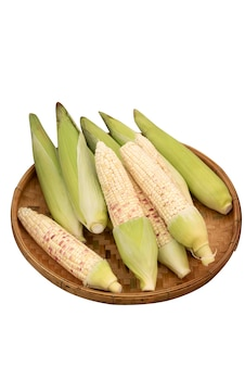 Świeża organiczna kukurydza cukrowa w koszu na białym tle