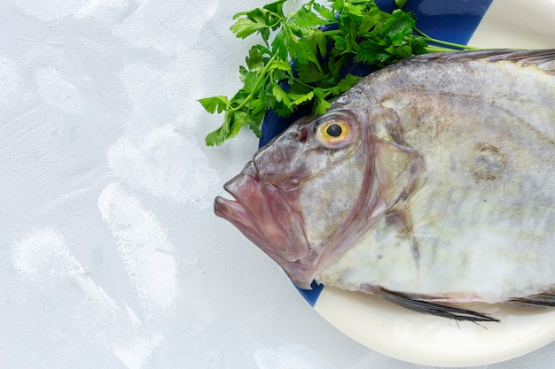 Świeża surowa ryba z pietruszką