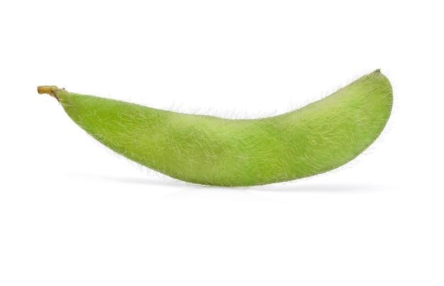 Świeża zielona soja na białym tle