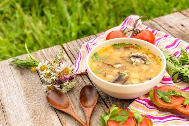 Świeża zupa grzybowa na świeżym powietrzu z wegetariańskimi kanapkami.