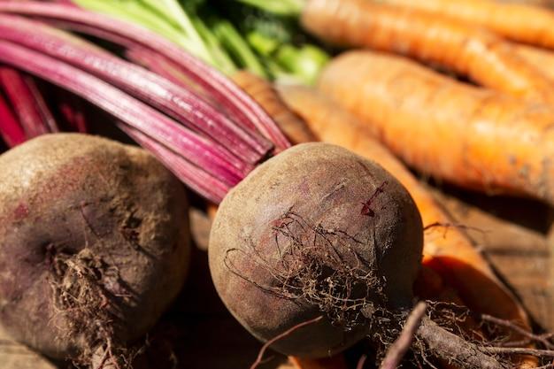 Świeże buraki i marchewki z blatami. witaminy i zdrowie z natury. zbliżenie.
