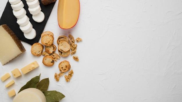 Świeże chesses z chlebowym plasterkiem i orzech włoski nad betonową powierzchnią