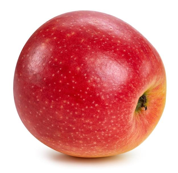 Świeże czerwone jabłko na białym tle bliska