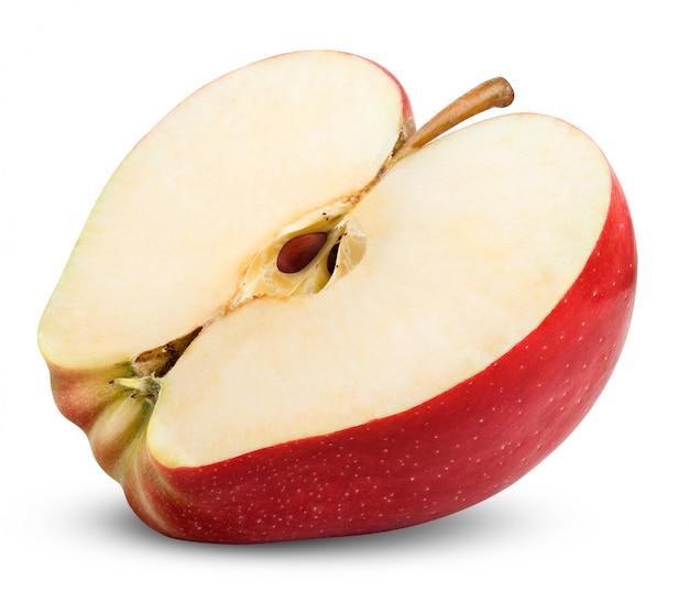 Świeże czerwone jabłko na białym tle