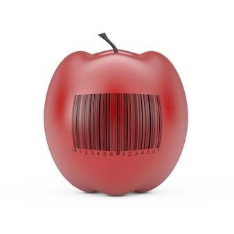 Świeże czerwone jabłko z kodem kreskowym na białym tle. renderowanie 3d