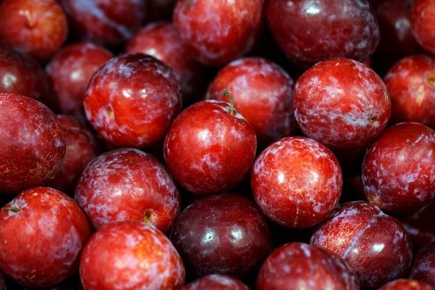 Świeże dojrzałe czerwone śliwki owocowe