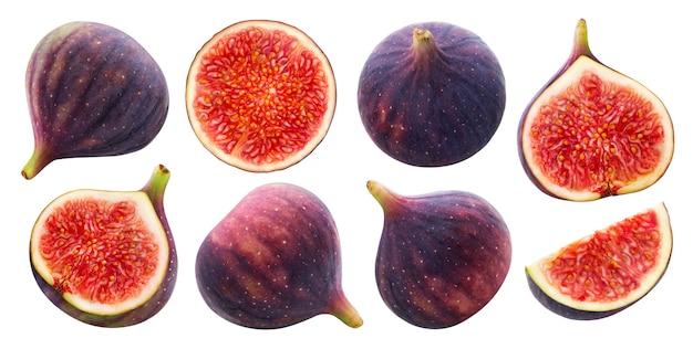 Świeże figi na białym tle ze ścieżką przycinającą, zbiór całych i pół owoców