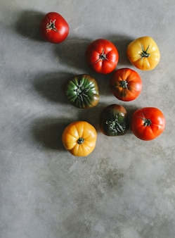 Świeże i organiczne pomidory scheda