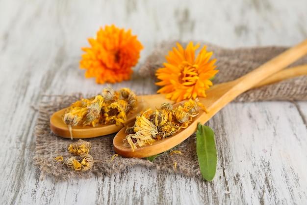Świeże i suszone kwiaty nagietka na podłoże drewniane