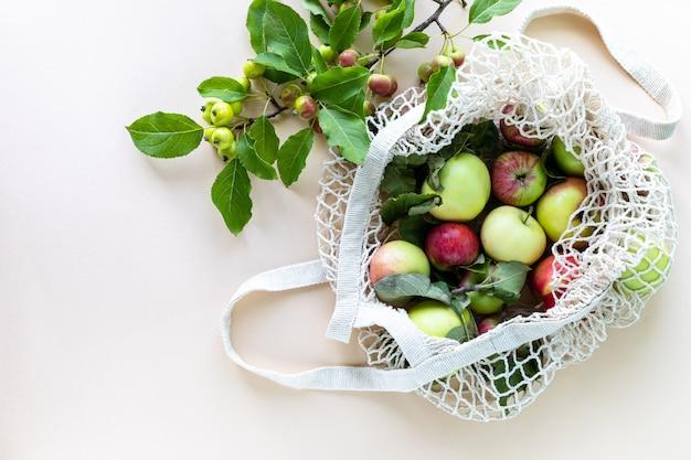 Świeże jabłka w siatkowej torbie na zakupy z gałęzi jabłek